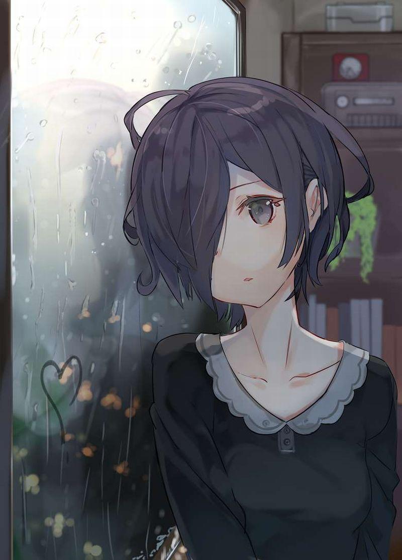 【雨の日の楽しみ】窓に指で落書きしてる女子達の二次画像【28】