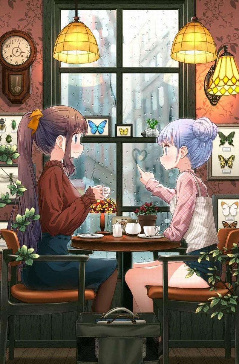 【雨の日の楽しみ】窓に指で落書きしてる女子達の二次画像【35】