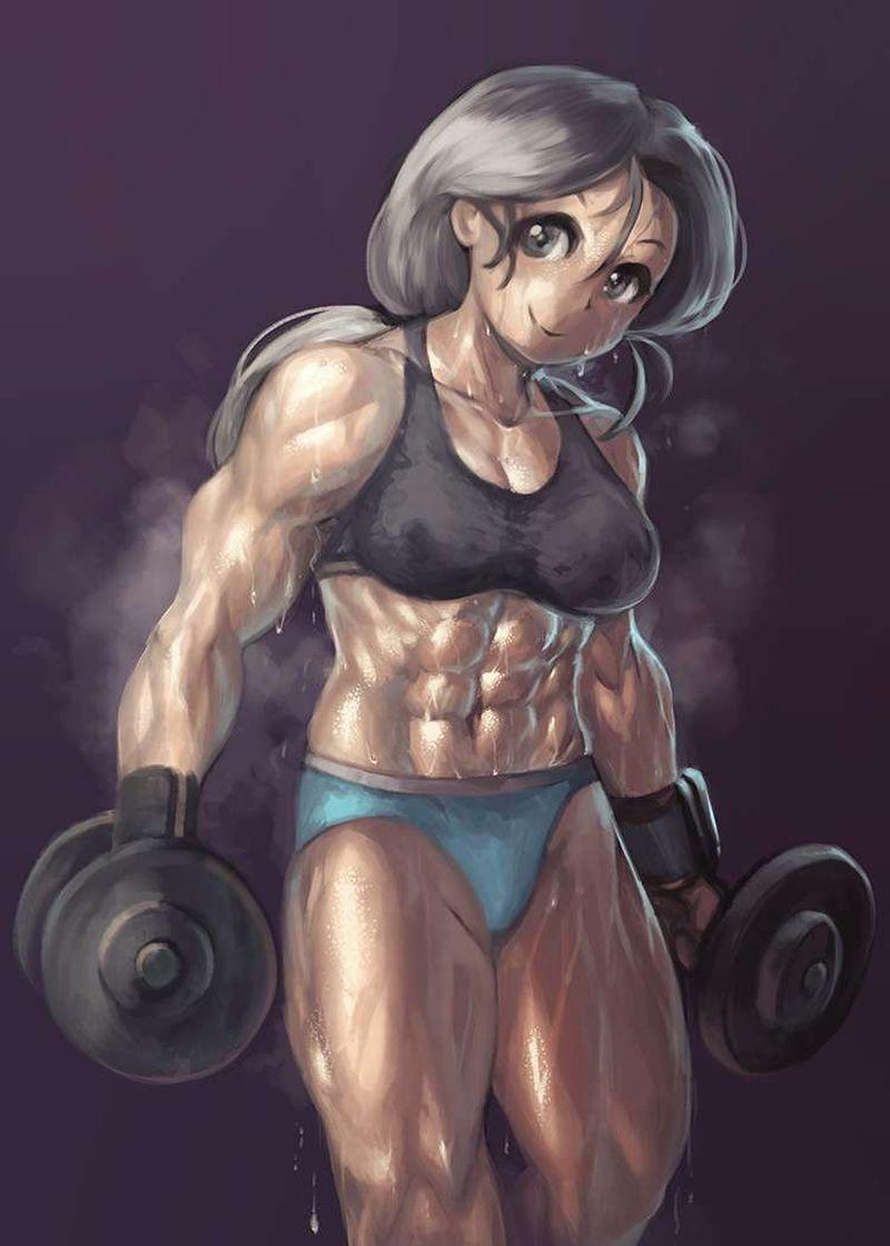 【何キロ持てる?】ダンベルや鉄アレイを使って筋トレする女子の二次エロ画像【9】