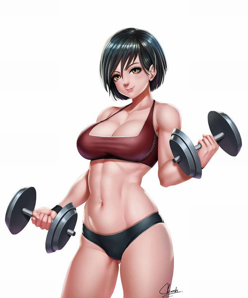 【何キロ持てる?】ダンベルや鉄アレイを使って筋トレする女子の二次エロ画像【28】