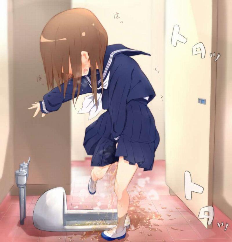 【ギリアウト】トイレのドア前or便器前でションベン漏らした女子達の二次エロ画像【2】