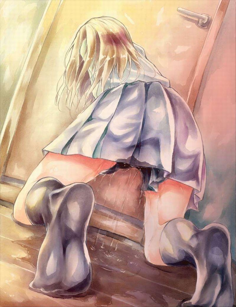 【ギリアウト】トイレのドア前or便器前でションベン漏らした女子達の二次エロ画像【18】