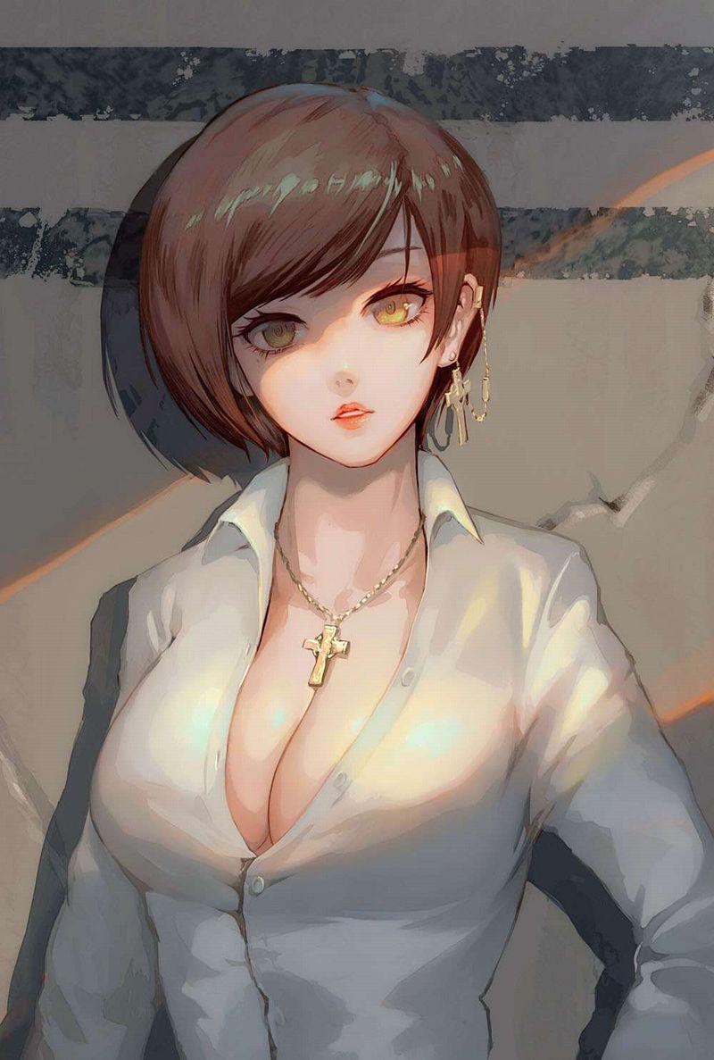 【欧米か】シャツのボタン開けておっぱいの谷間覗かせてる女子の二次エロ画像【6】