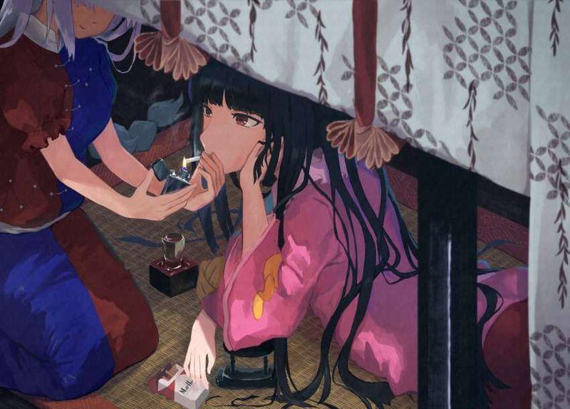 【一服】タバコに火を付ける女子の二次エロ画像【8】