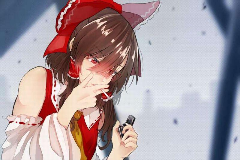 【一服】タバコに火を付ける女子の二次エロ画像【10】