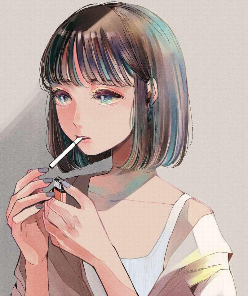 【一服】タバコに火を付ける女子の二次エロ画像【17】
