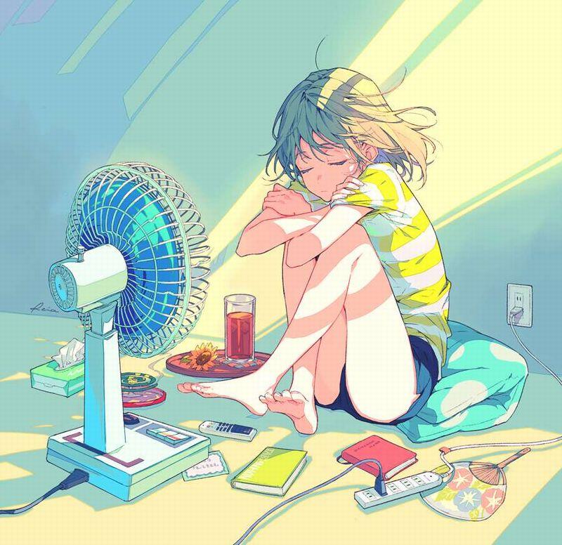 【エロだらしない格好】扇風機で涼む部屋着女子達の二次エロ画像【31】