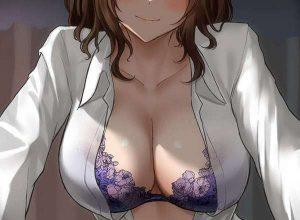 【エロ下着】ムラサキ色のブラジャーを着用した巨乳女子の二次エロ画像