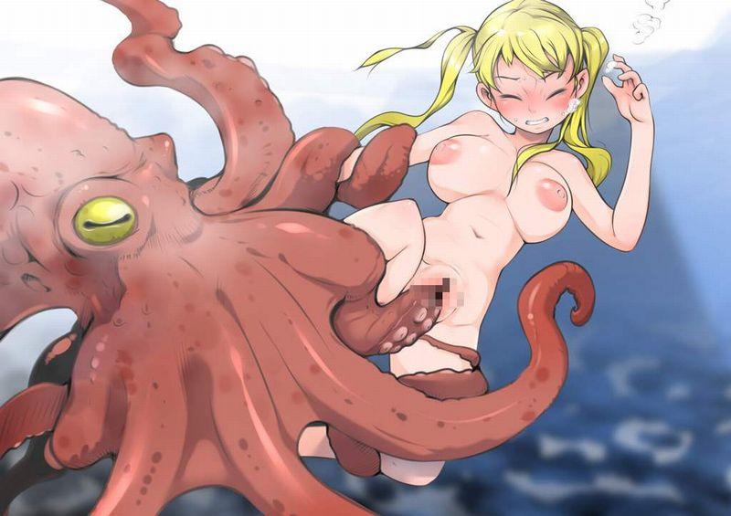 【蛸と海女】蛸の触手に襲われる女子の二次エロ画像【鉄棒ぬらぬら】【6】