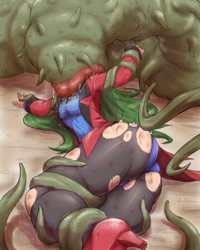 【もぐもぐタイム】巨大生物に頭から捕食される女子達の二次リョナ画像【34】