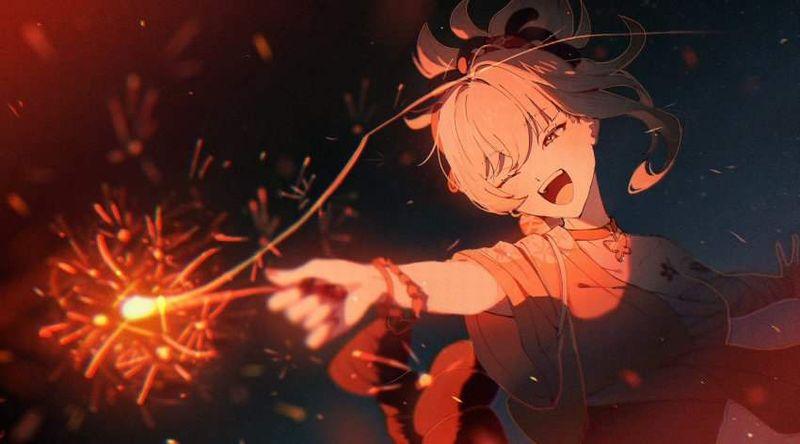 【夏の風物詩】手持ち花火を楽しむ女子達の二次画像【14】