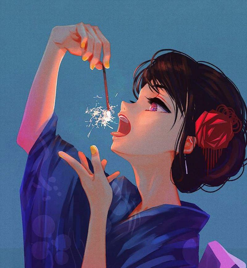 【夏の風物詩】手持ち花火を楽しむ女子達の二次画像【39】