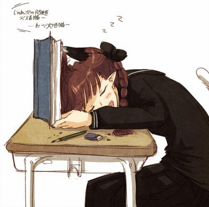 【仮眠】デスクに突っ伏してうたた寝してる女子たちの二次画像【5】
