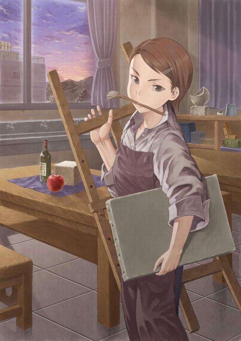 【芸術の秋】キャンバスと向き合う女子達の二次エロ画像