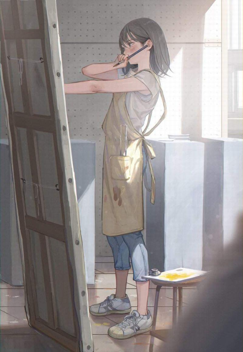 【芸術の秋】キャンバスと向き合う女子達の二次エロ画像【5】