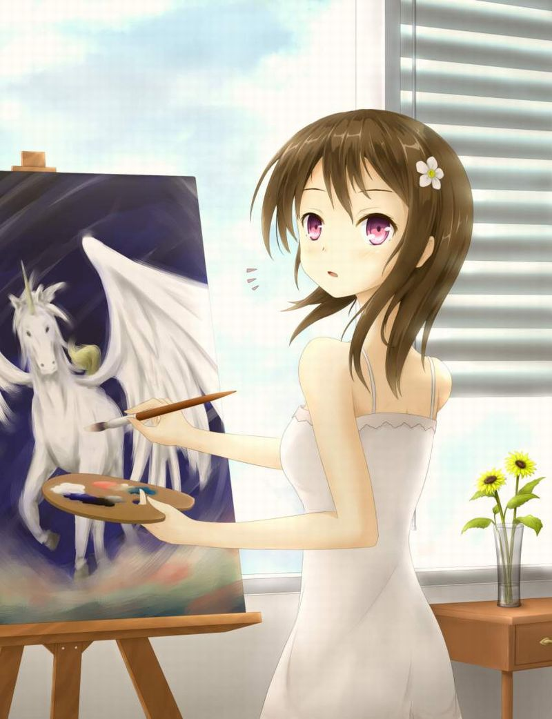 【芸術の秋】キャンバスと向き合う女子達の二次エロ画像【8】