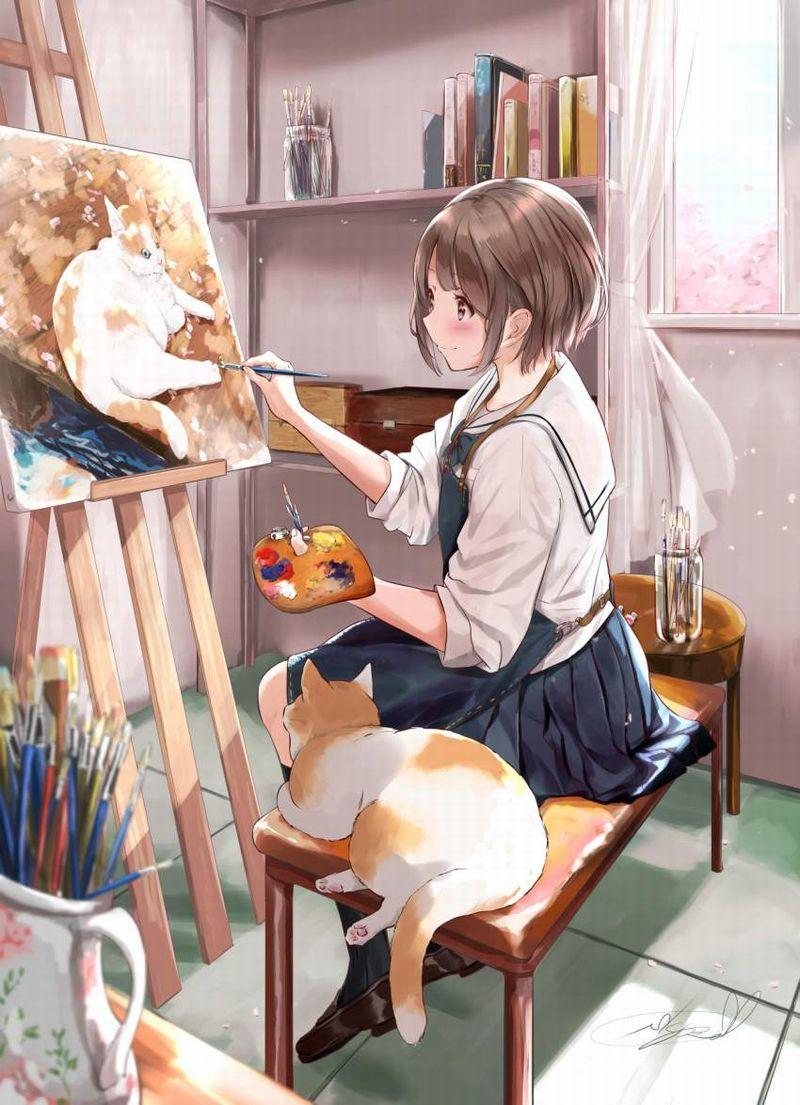 【芸術の秋】キャンバスと向き合う女子達の二次エロ画像【10】