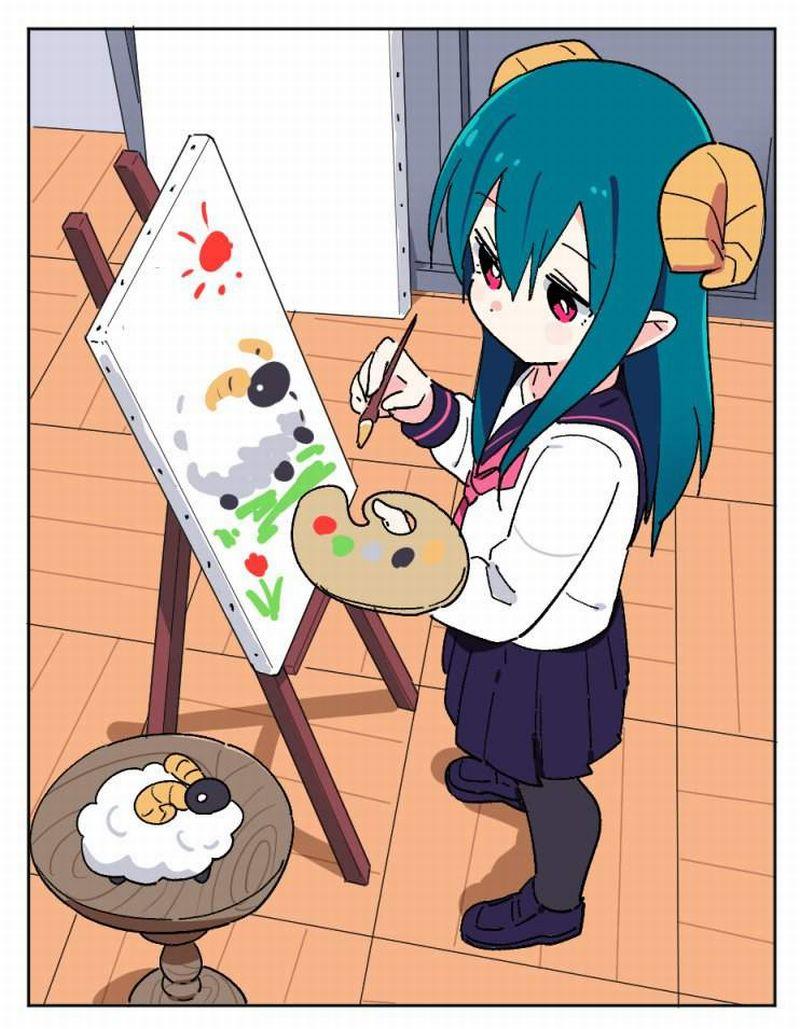 【芸術の秋】キャンバスと向き合う女子達の二次エロ画像【17】