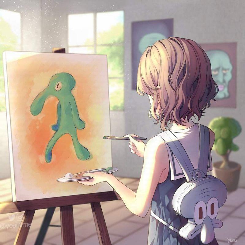 【芸術の秋】キャンバスと向き合う女子達の二次エロ画像【33】