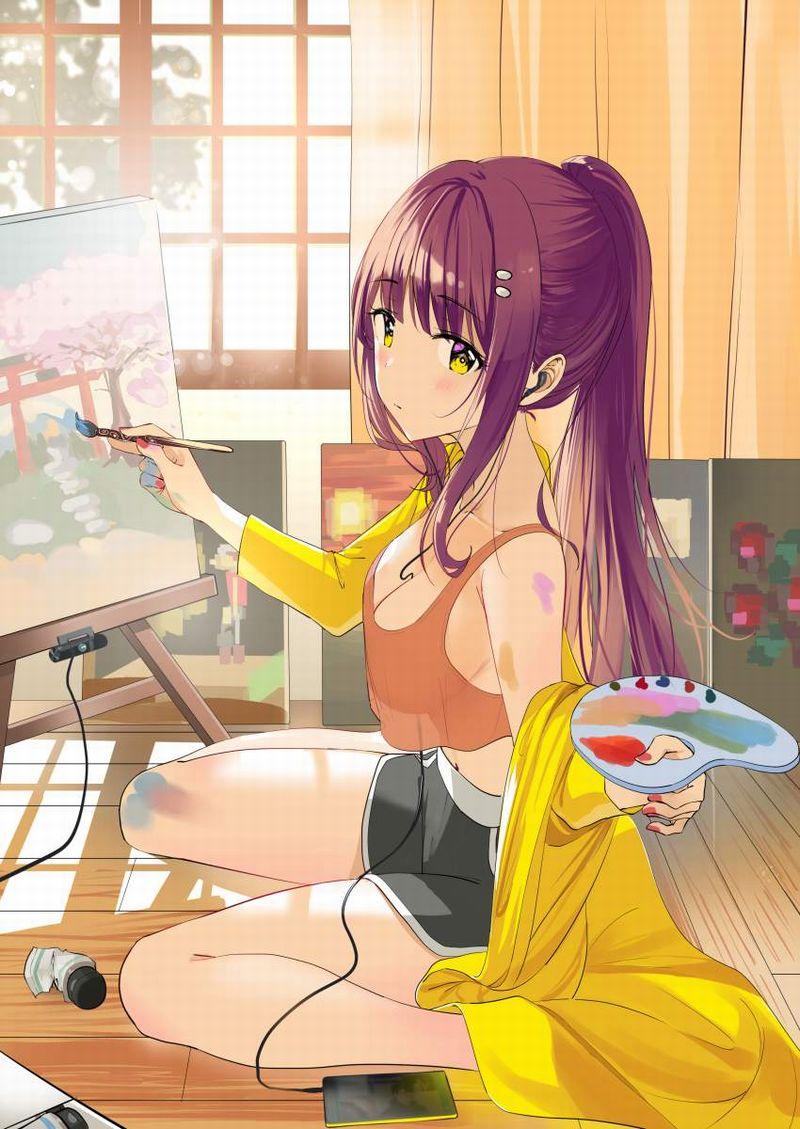 【芸術の秋】キャンバスと向き合う女子達の二次エロ画像【34】