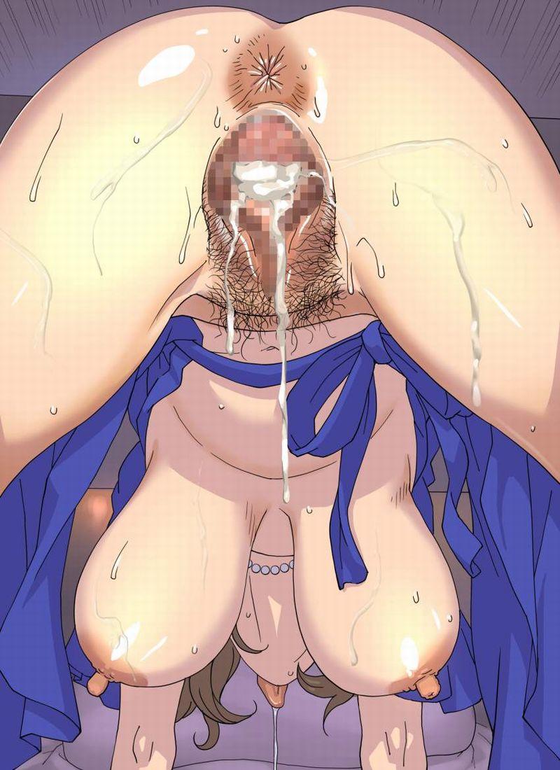 【人妻物に良くある光景】陰毛未処理マンコに中出ししてる二次エロ画像【4】