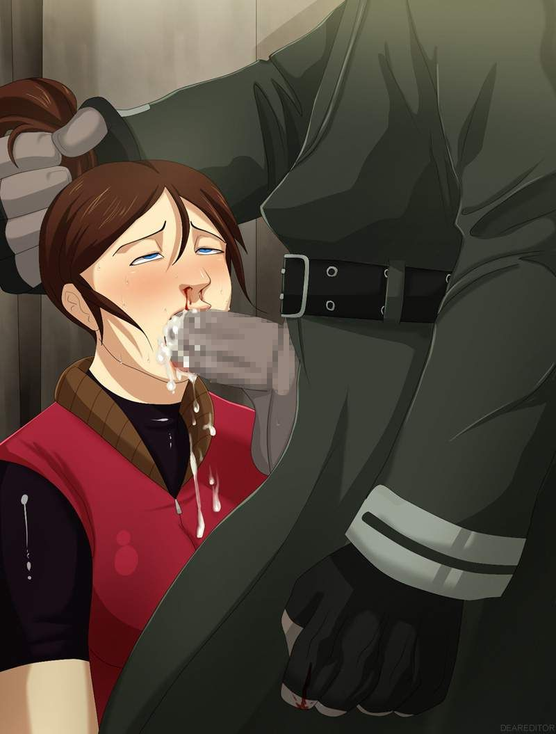 【抵抗を試みた結果】鼻や口から血を流しつつチンコ咥えてる女子達の二次エロ画像【11】